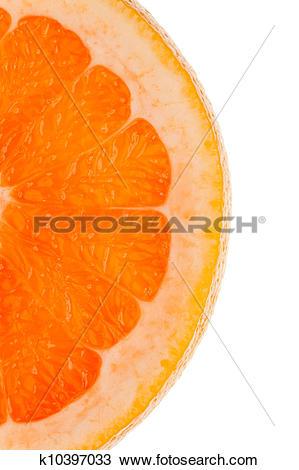 Stock Photo of Macro shot of a half slice of orange in transmitted.