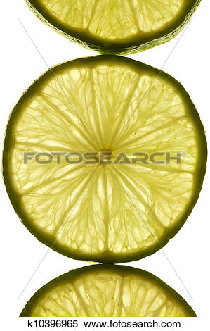 Stock Image of Macro shot of a slice of lime in transmitted light.