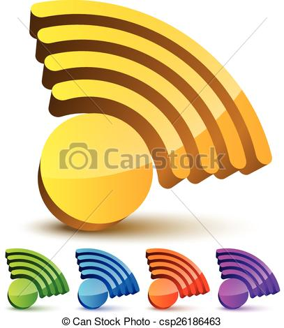 Clip Art Vector of Signal graphics for wireless technology.