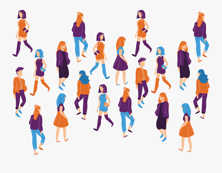 19 Vector Crowd Walking Huge Freebie Download For Powerpoint.