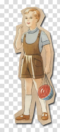 Retro style from s, boy holding ball paper doll transparent.
