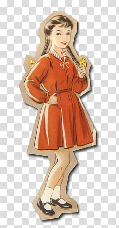 Retro style from s, female cartoon character standee.