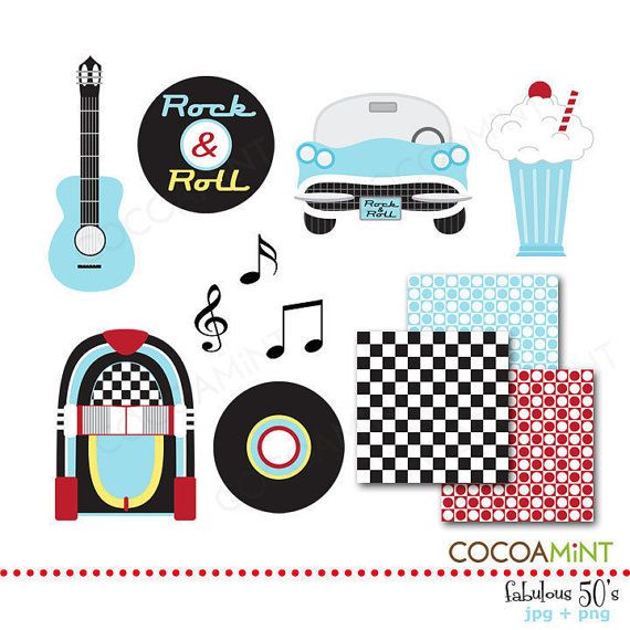 Fabulous 50\'s Clip Art by cocoamint on Etsy.
