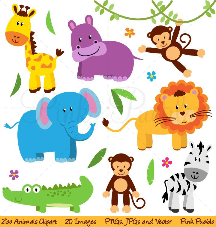 Zoo Animal Clip Art, Zoo Animal Clipart, Safari Jungle.