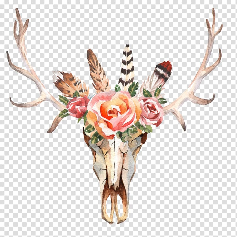 Brown and red floral antler illustration, Deer Flower Skull.