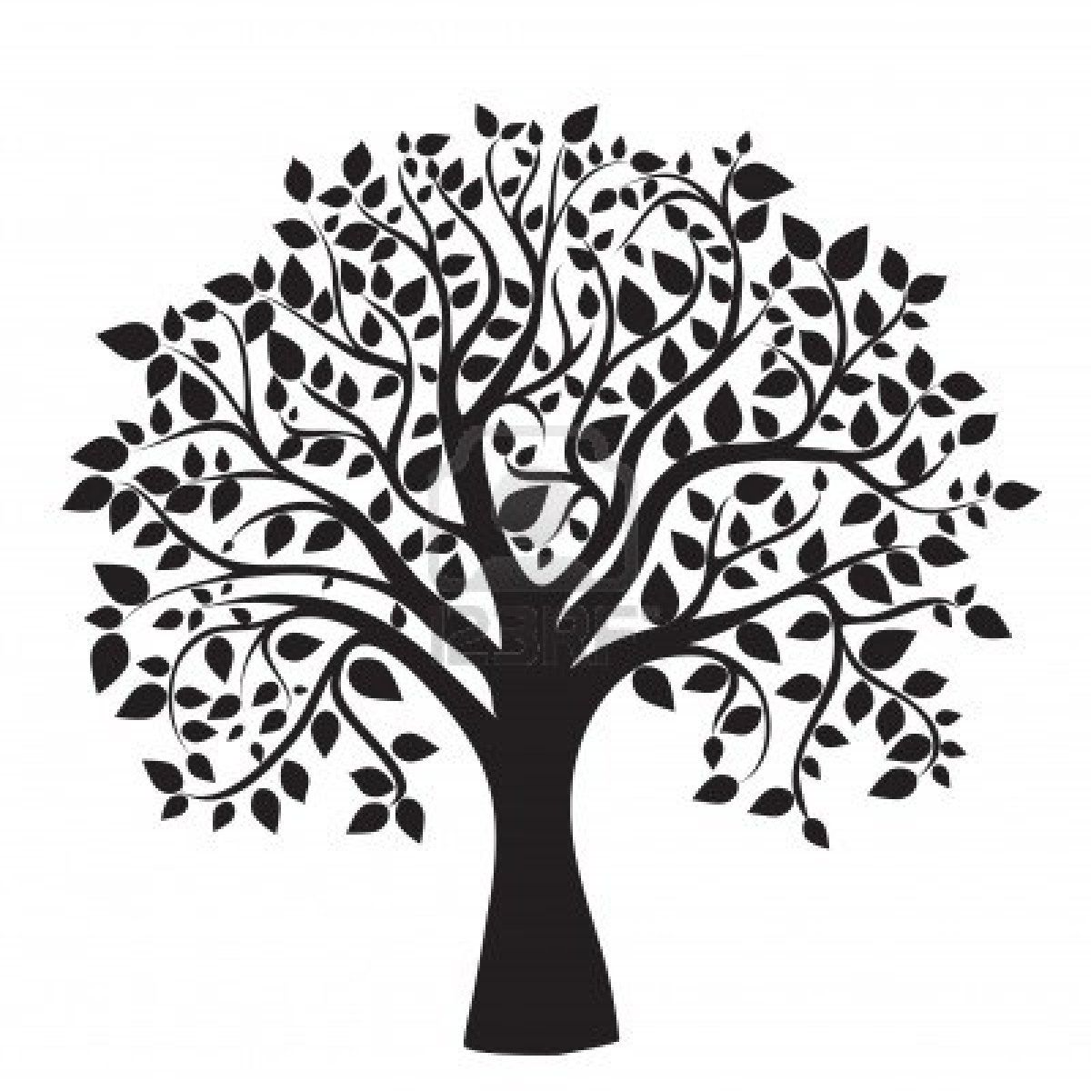 Black And White Tree Clipart Transparent Background.