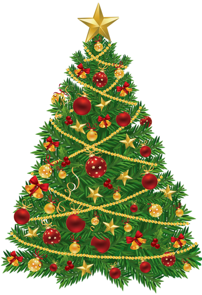 Large Transparent Christmas Tree with Red and Gold Ornaments.