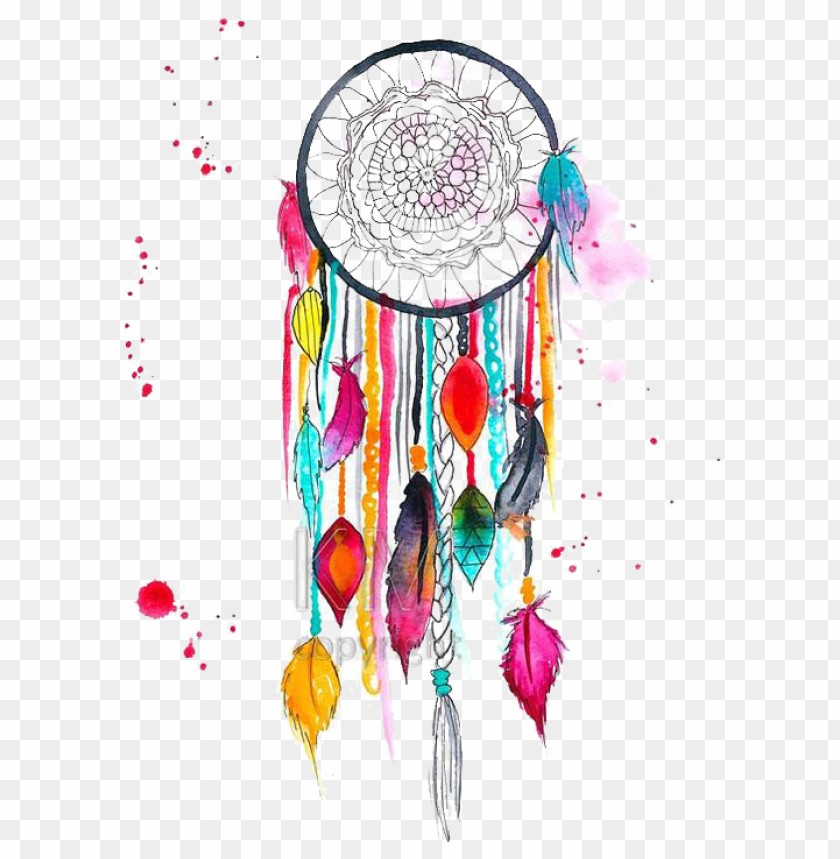colorful dream catcher painting PNG image with transparent.