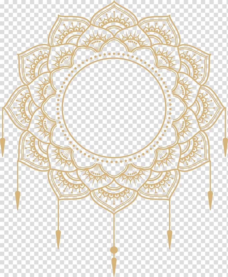 Paper Adobe Illustrator Icon, gold mandala title box, yellow.