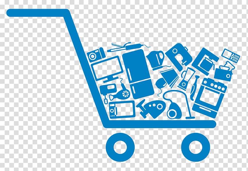 Blue shopping cart illustration, Online shopping , Online.