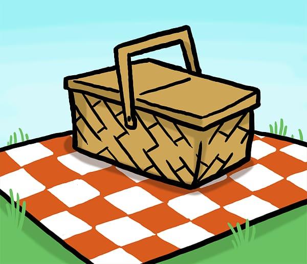 Picnic basket illustration, Picnic basket Table , Cartoon.