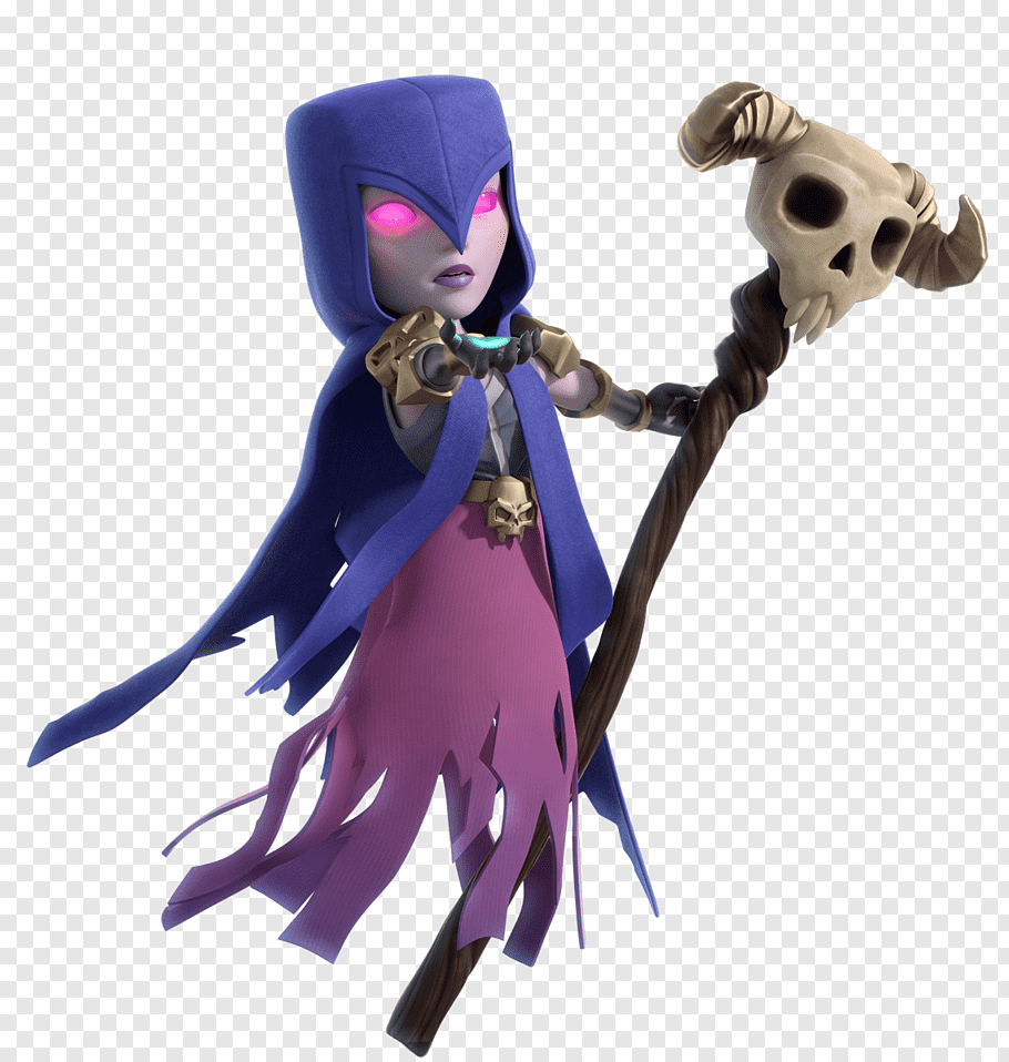 Woman wearing purple cape and pink dress, Clash of Clans.