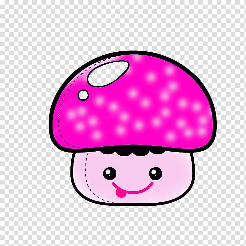 Kawaii, purple mushroom illustration transparent background.