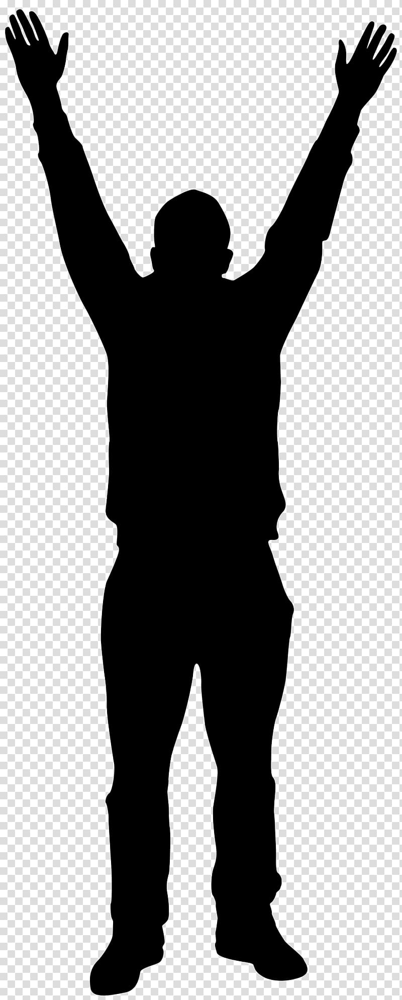 Silhouette Man , Man with Hands up Silhouette transparent.