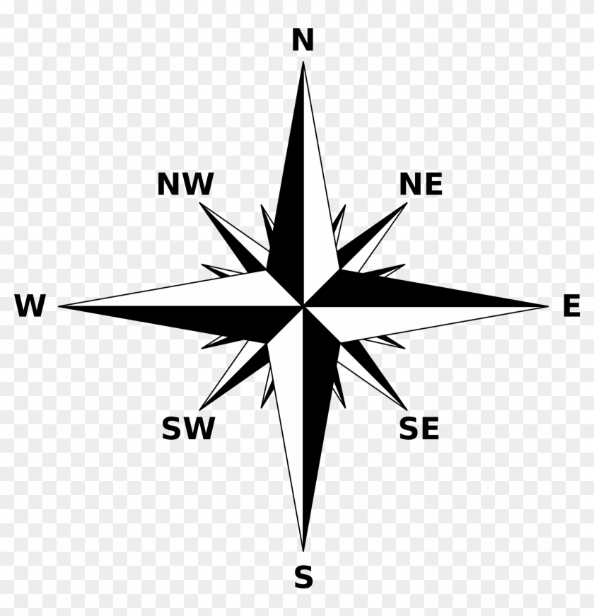 Black And White Compass Png Clipart.
