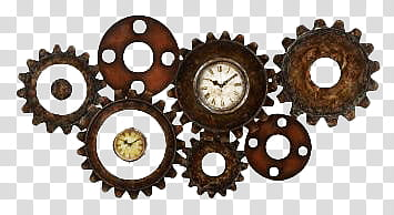 Steampunk Clocks brown and black gears art transparent.