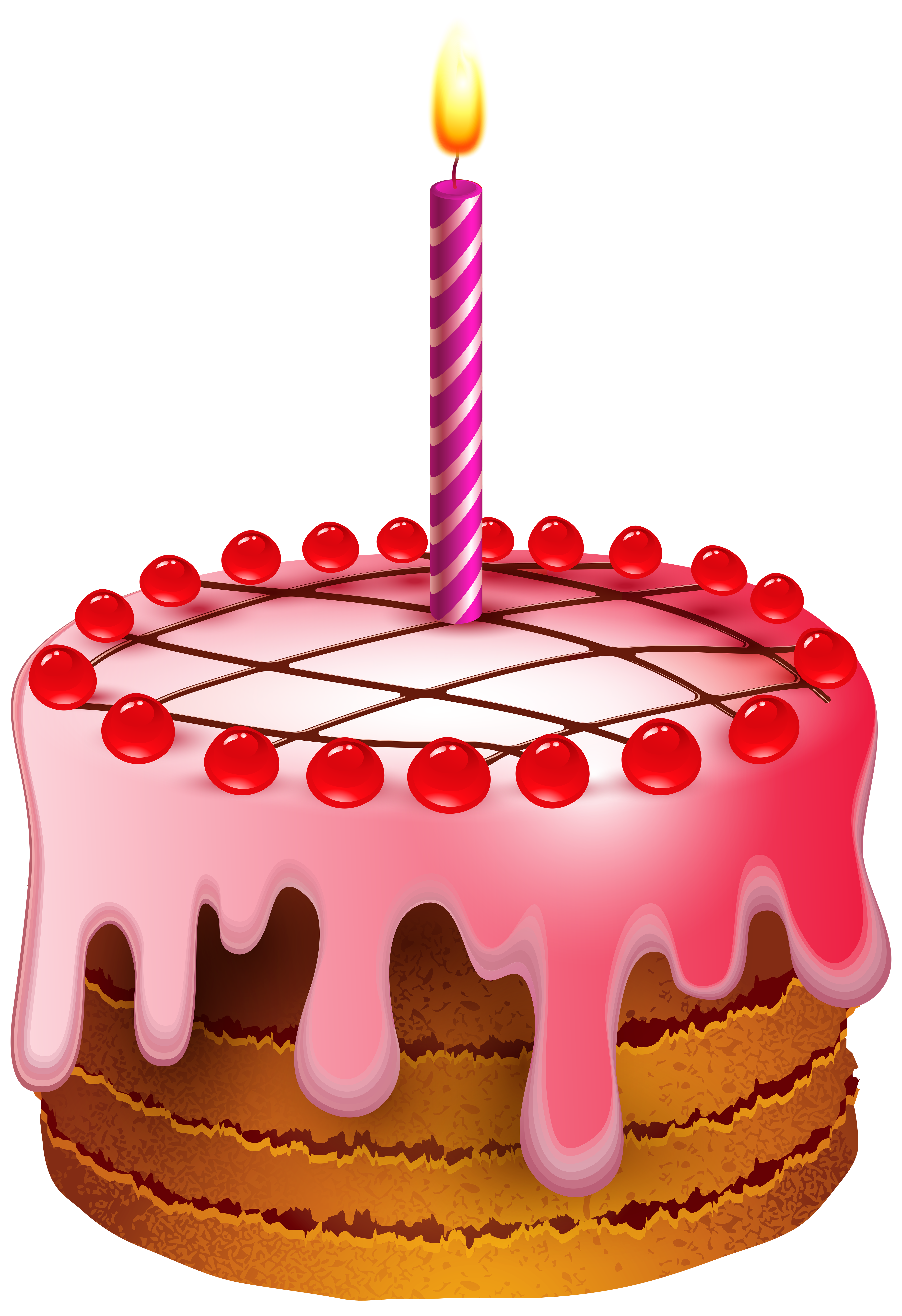 Birthday Cake with Candle Transparent Clip Art Image.