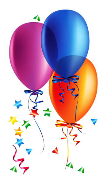 Transparent Balloons with Confetti Clipart.