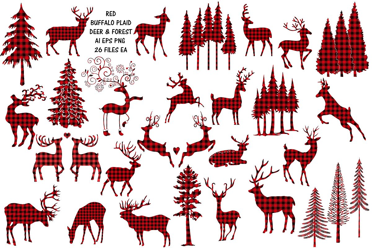 Red Buffalo Plaid Deer/Forest Vector.