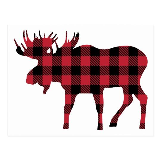 Moose clipart red black plaid, Moose red black plaid.