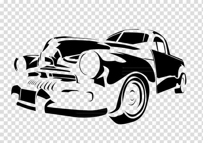 Vintage car Stencil Illustration, Black and white hand.
