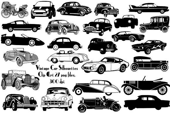 Vintage Car Silhouette ClipArt by FrankiesDaughtersDesign on.