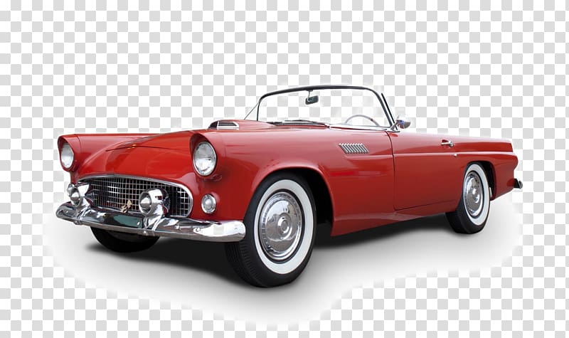 Red convertible coupe, Classic car Ford Thunderbird Vintage.