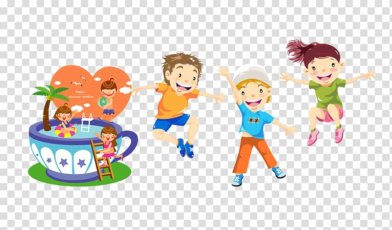 Children , Child Play Jumping Illustration, Play cartoon.