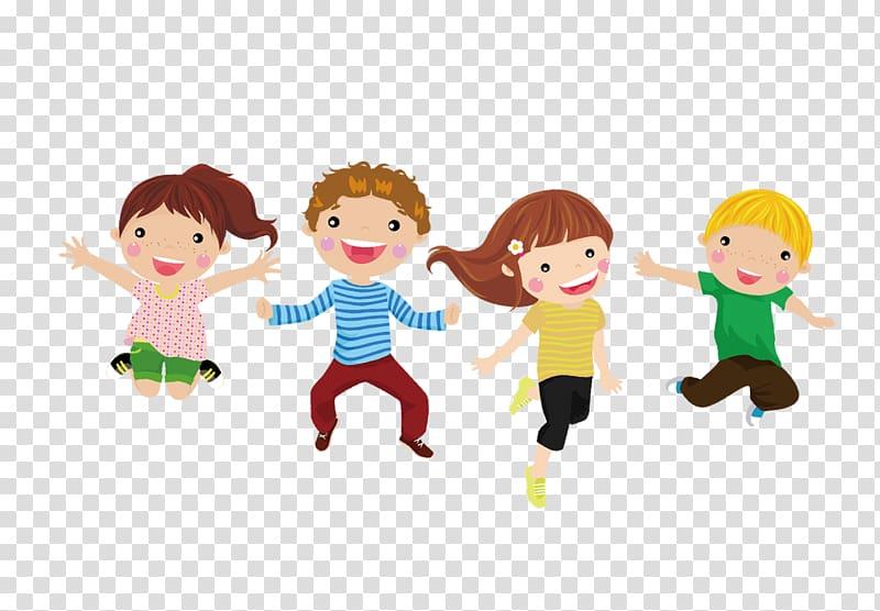 Four children jumping illustration, Child Cartoon.