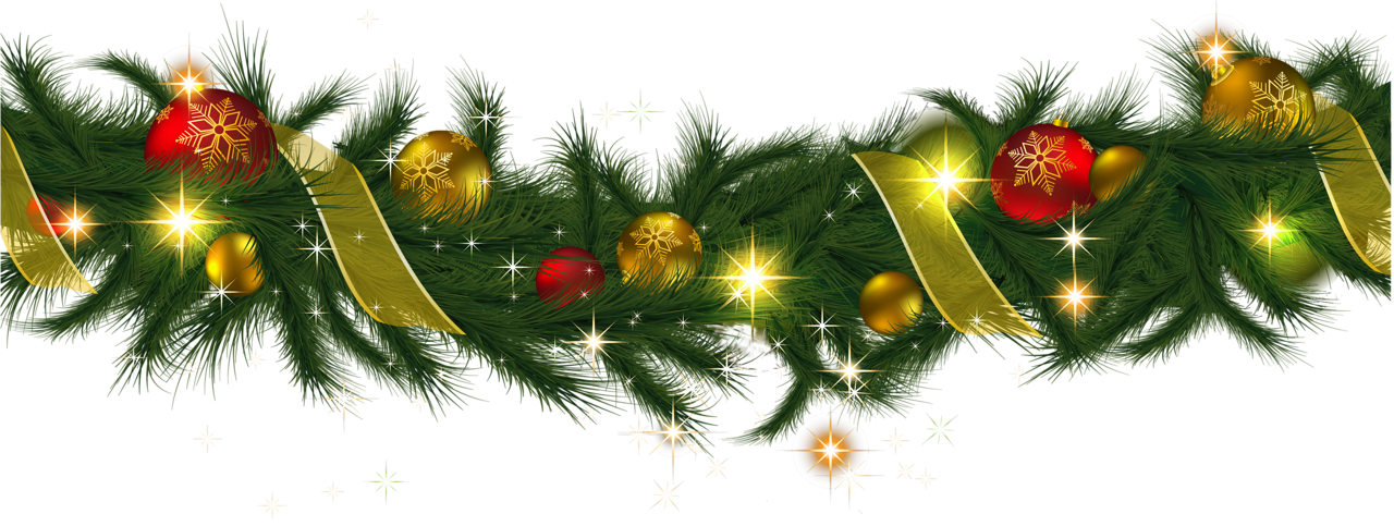 Transparent Christmas Pine Garland with Lights Clipart.