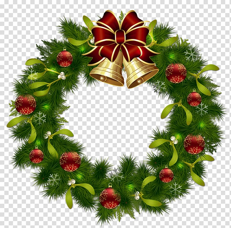 Green and red garland wreath illustration, Wreath Christmas.