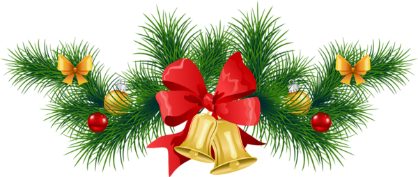 Transparent Christmas Pine Garland with Bells Clipart.