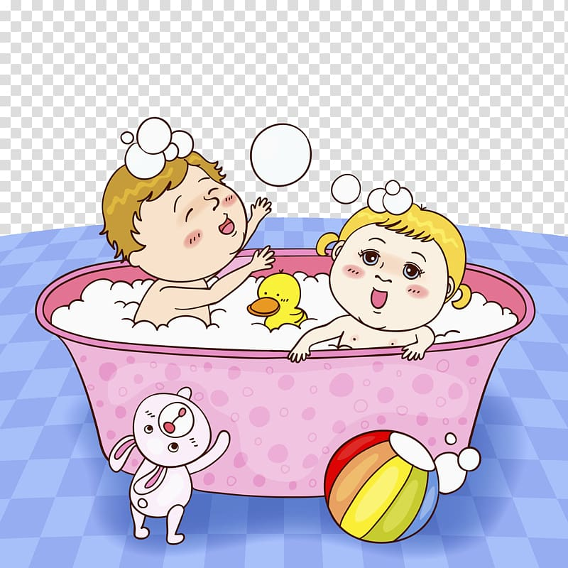 Bathing Drawing Bathtub Illustration, 2 children in a.