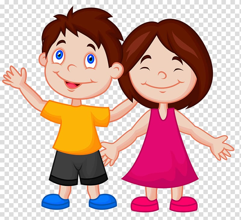 Cartoon , Two children transparent background PNG clipart.