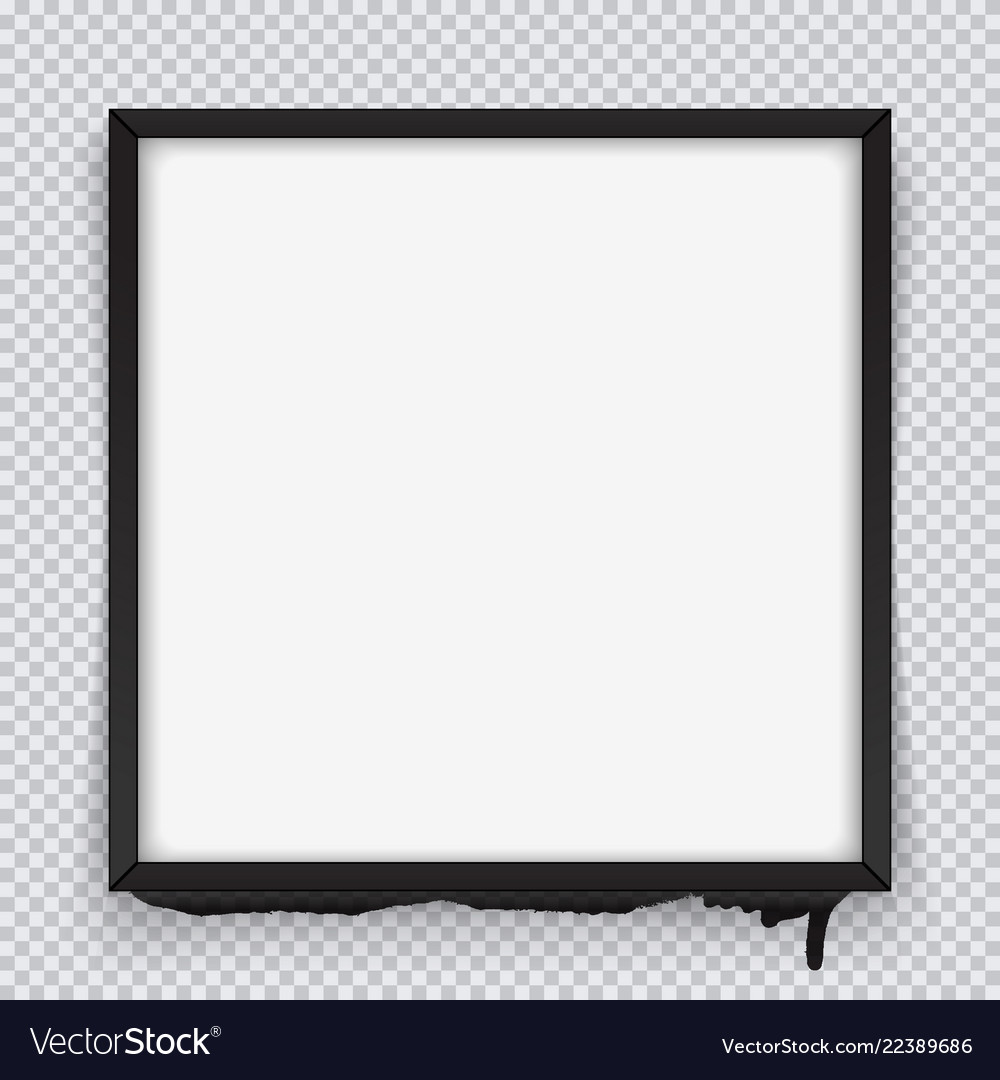 Square black frame on a transparent background.