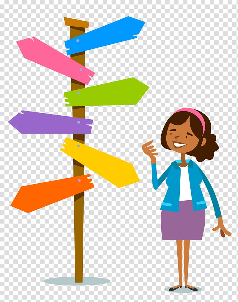 Woman standing on signage illustration, Decision.