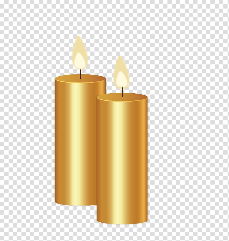 Light Candle, Golden candle transparent background PNG.