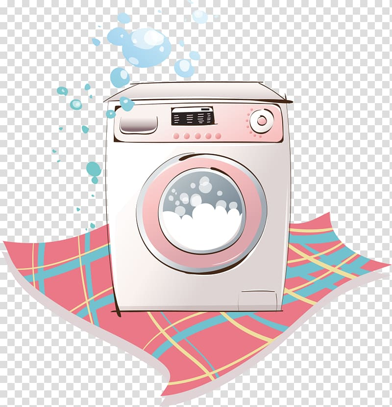 Washing machine Cartoon Laundry, Automatic washing machine.