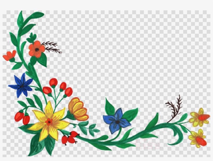 Download Flower Watercolor Corners Transparent Clipart.