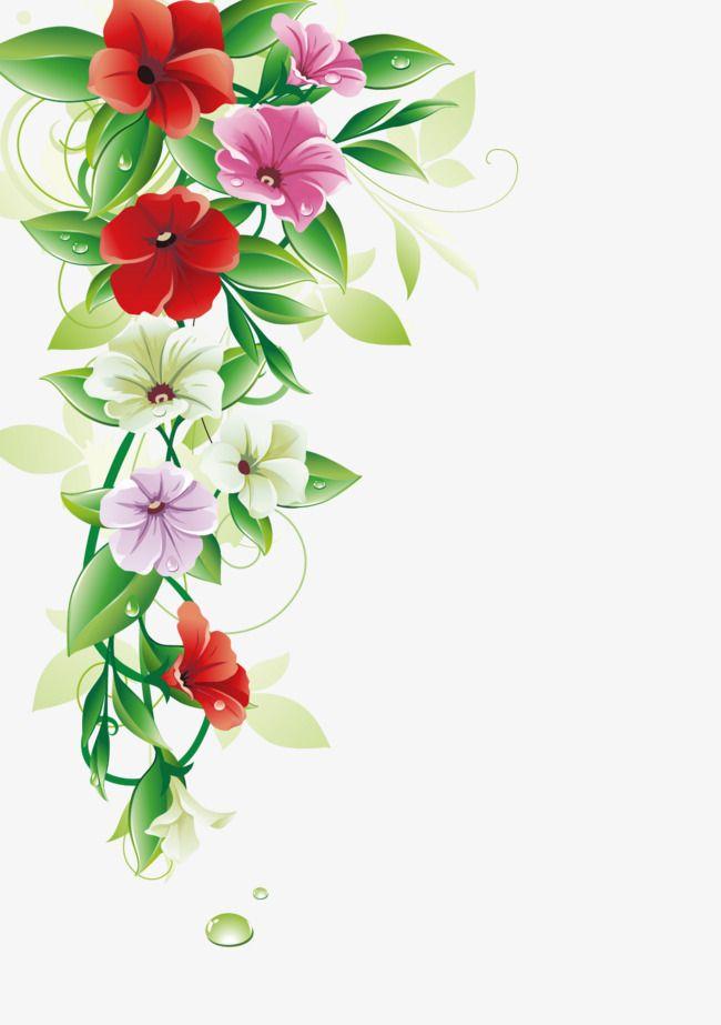 Flower Border, Vector Leaves, Petal PNG Transparent Clipart.