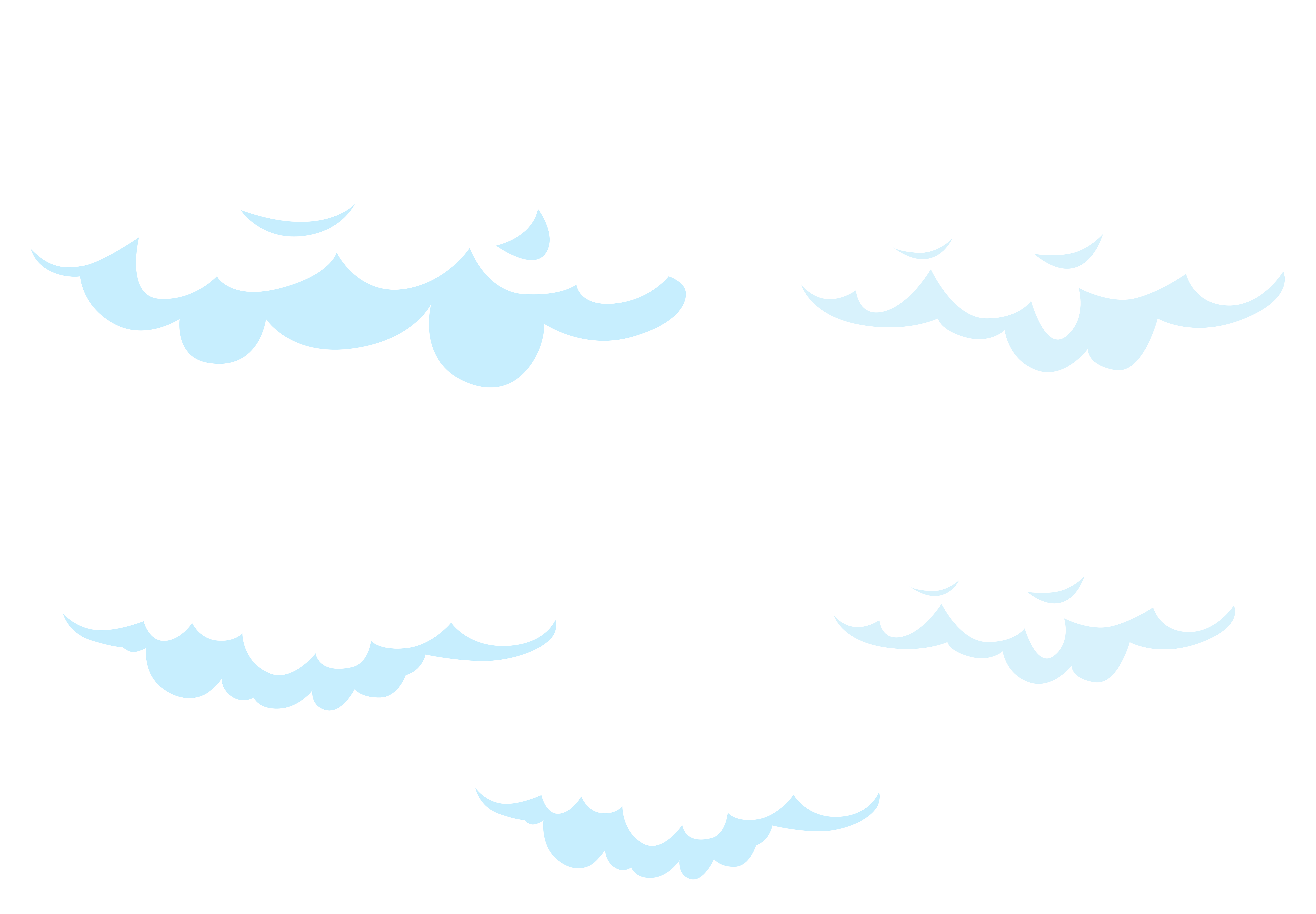 Cartoon Clouds Set Transparent PNG Clip Art Image.