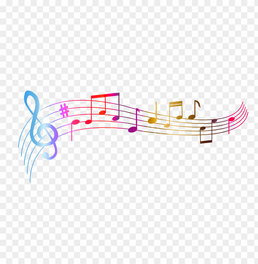 music notes colourful PNG image with transparent background.