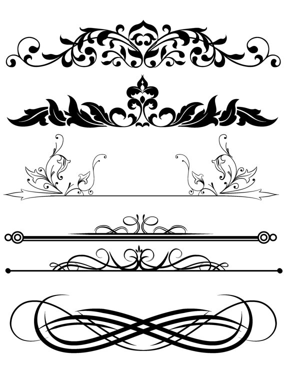 Design Clipart Mix, Frames Scroll Divider, Digital Download.