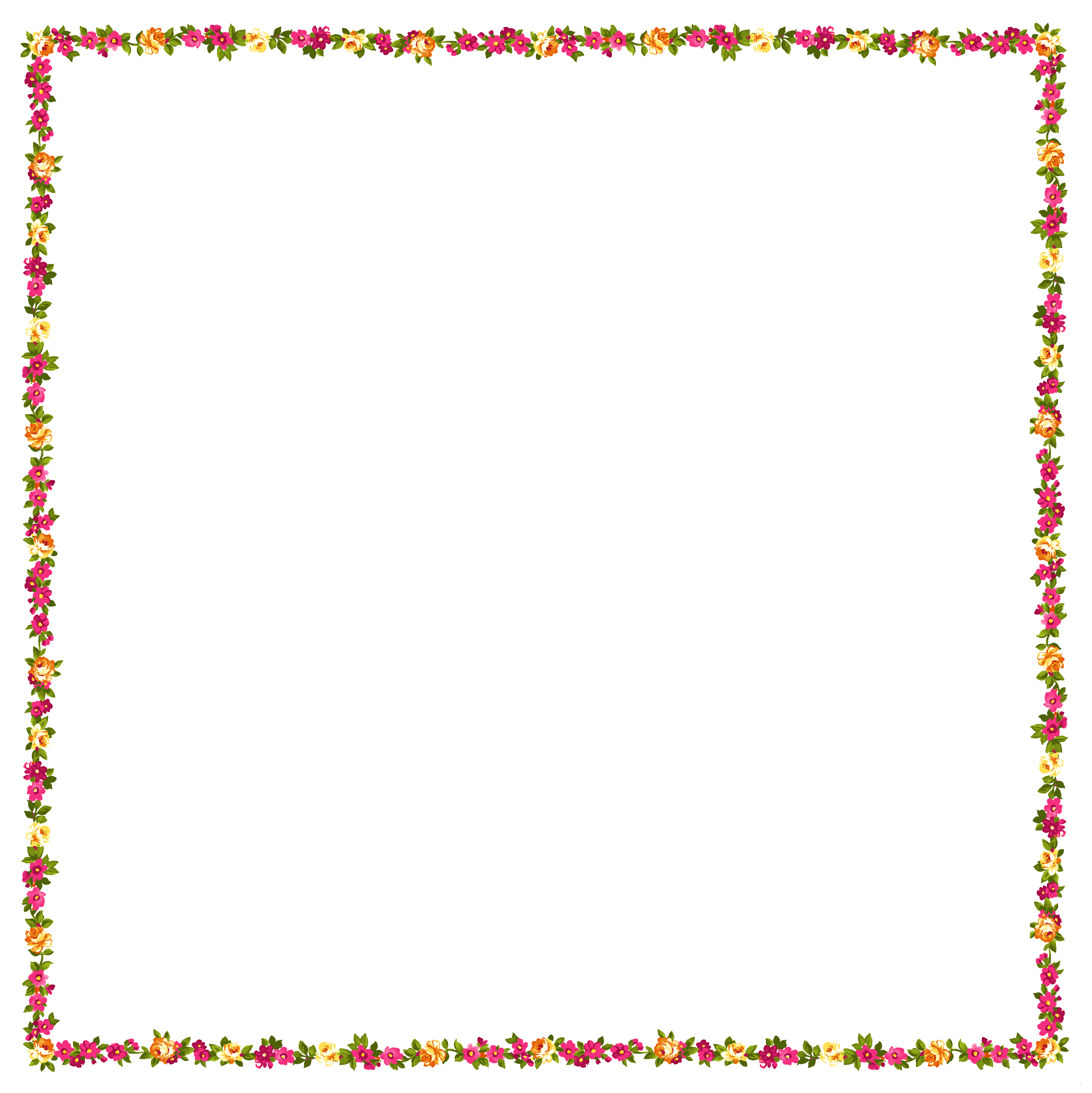 Transparent Floral Frame Decor PNG Clipart.