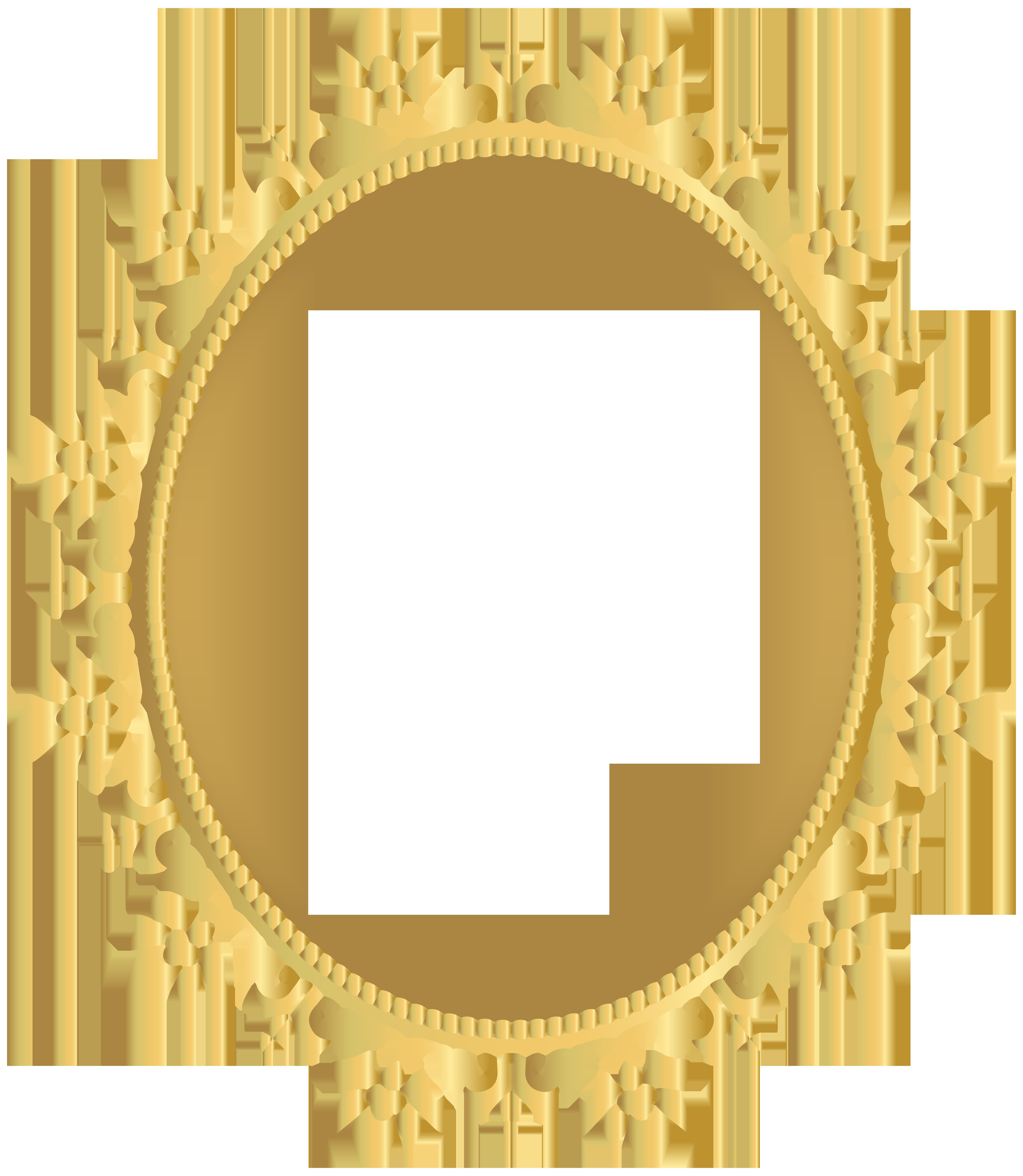 Round Golden Border Frame Transparent PNG Clip Art.