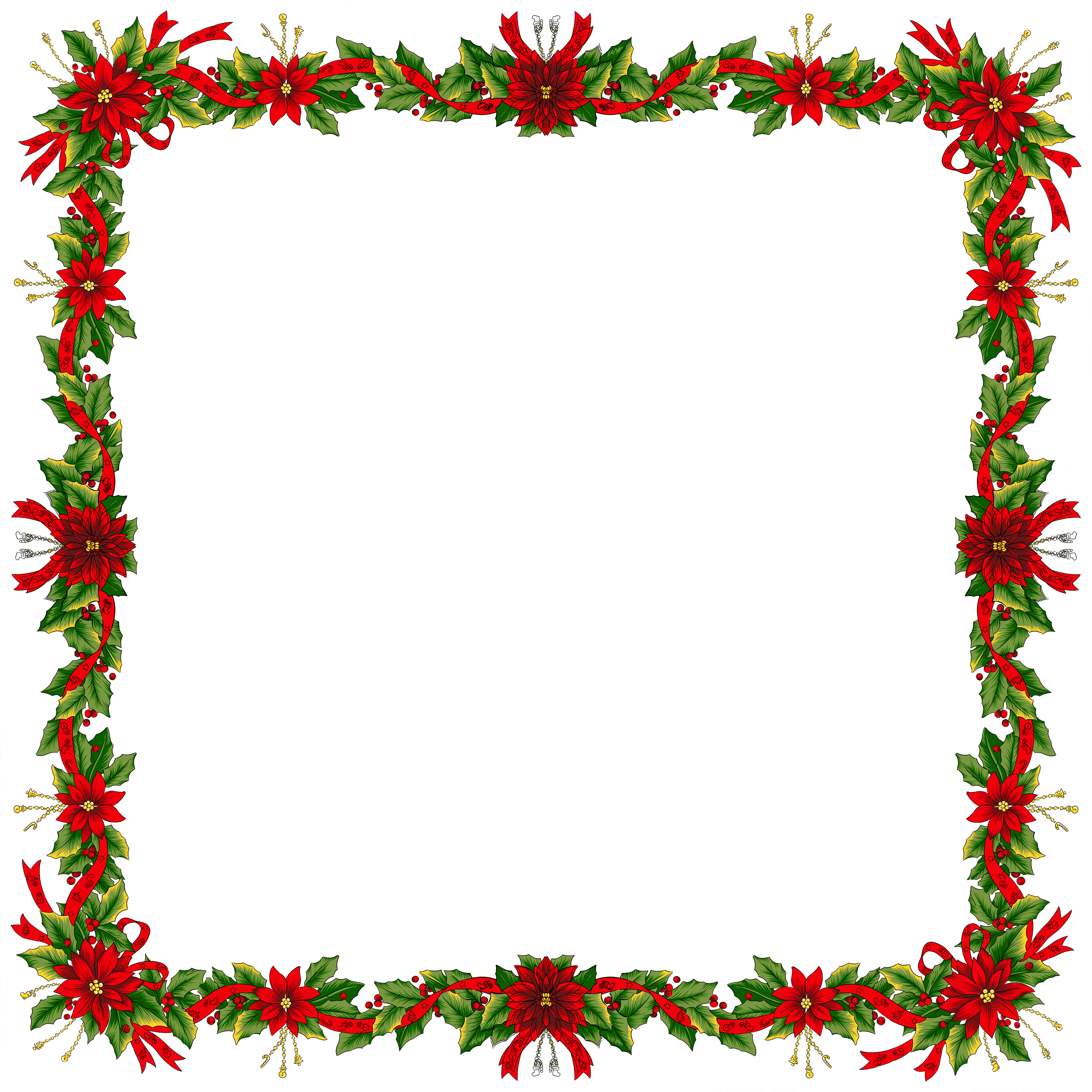 Large Christmas Transparent PNG Photo Frame.