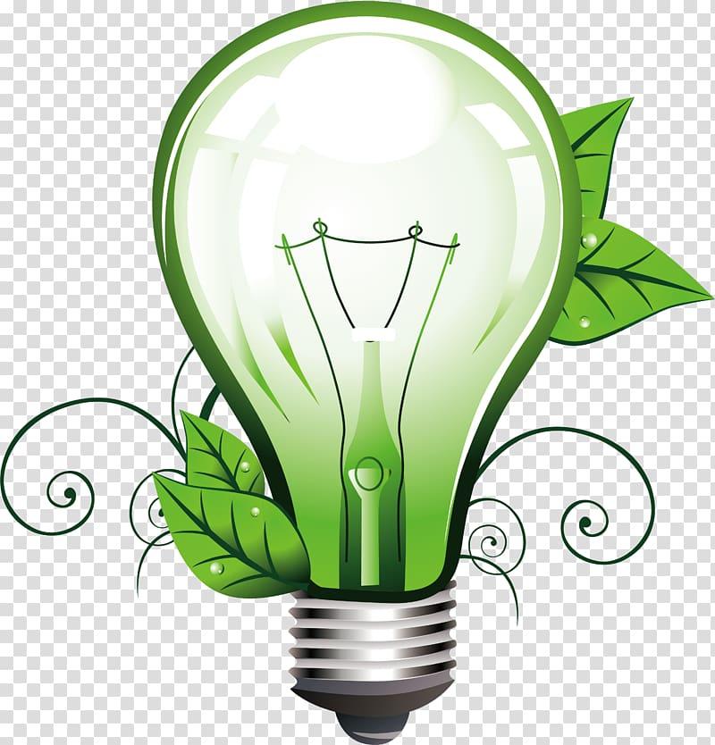 Incandescent light bulb Lighting, Green light bulb.
