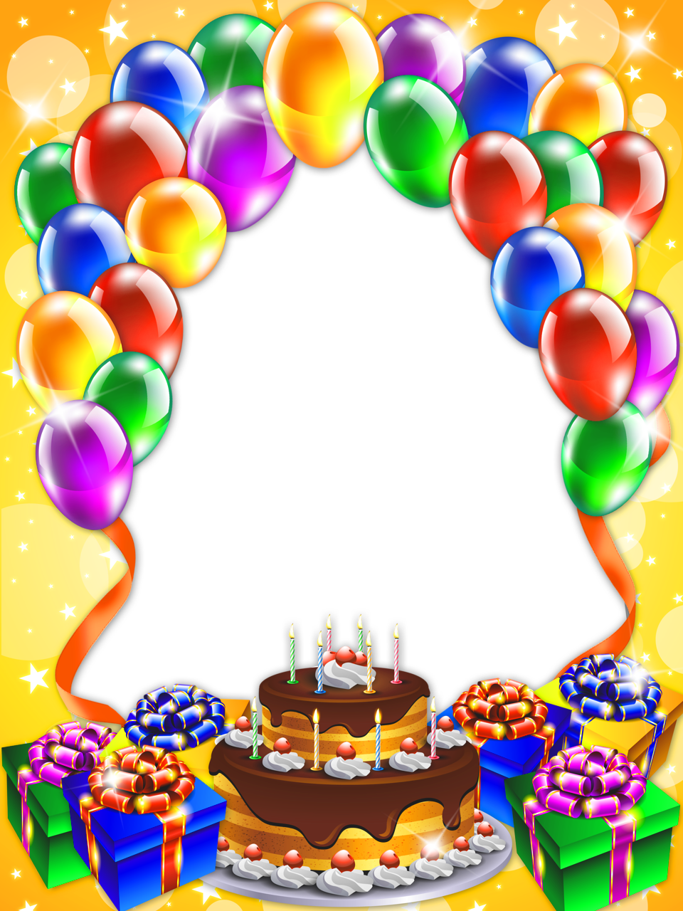 Happy Birthday Transparent PNG Frame.
