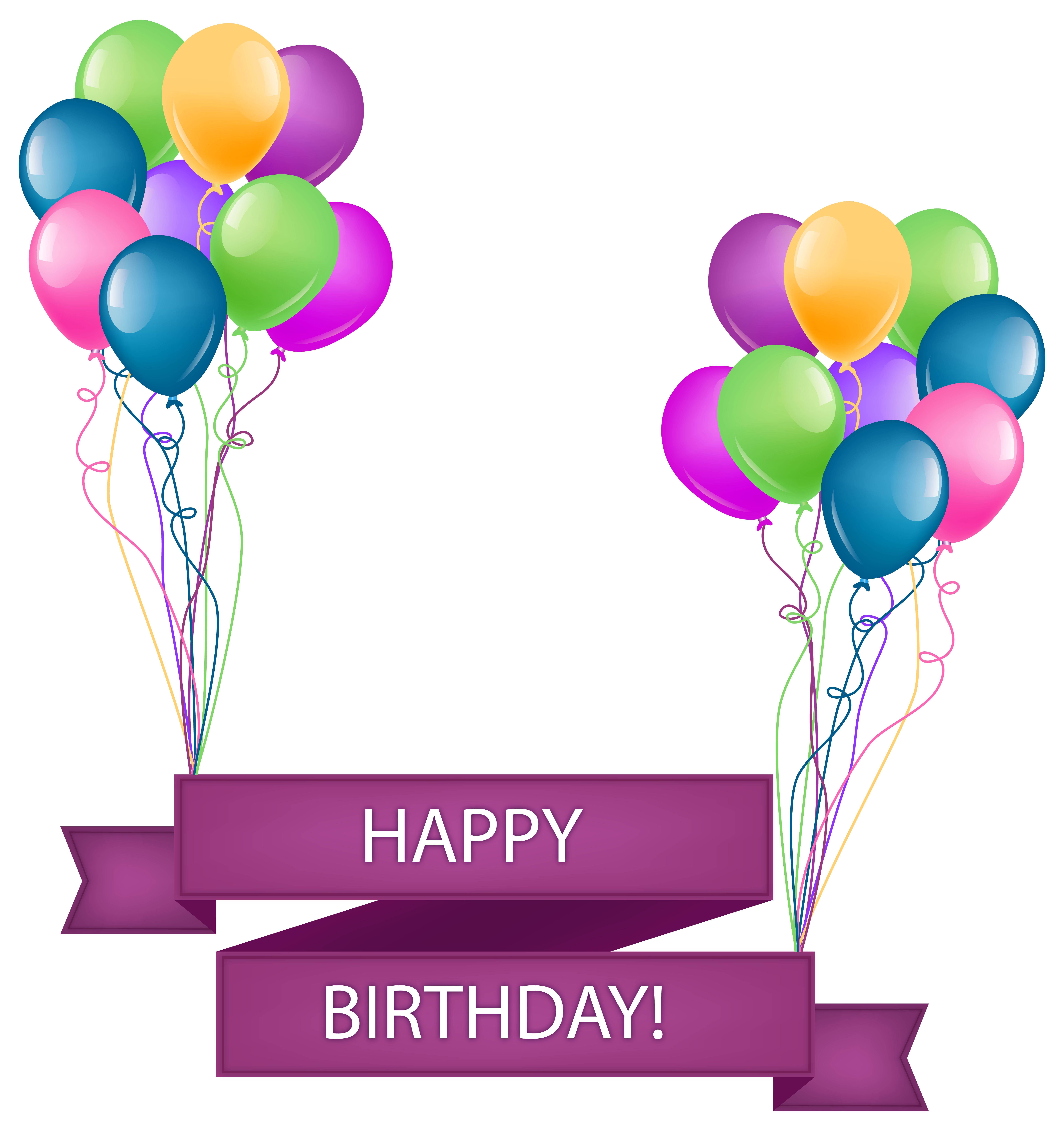 Happy Birthday Banner with Balloons Transparent PNG Clip Art Image.