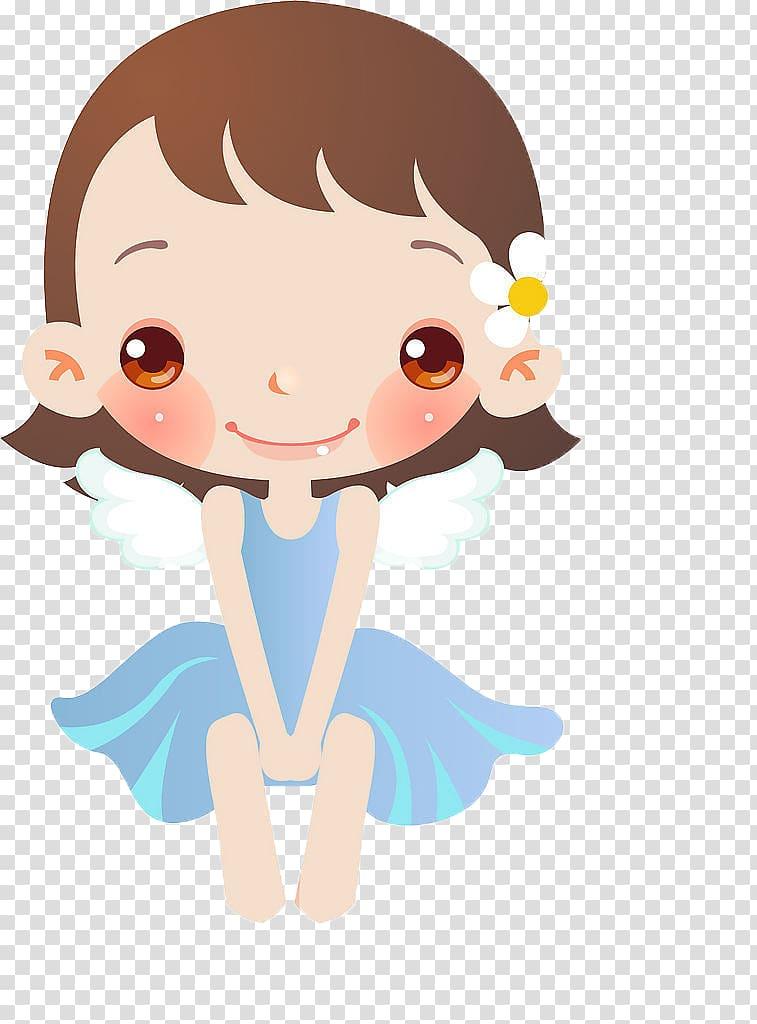 Girl Cartoon Illustration, Wearing a blue dress cute little.